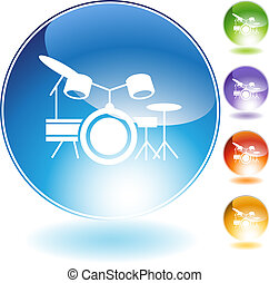 Drum Set Instrument - Drum set music instrument isolated on...