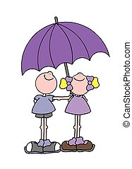 Boy and girl under an umbrella