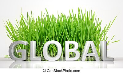 Green grass with Global 3D text, isolated on white...