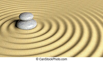 Balancing Zen stones stack from large to small on sand with circular ripples.