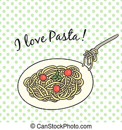 Card with pasta, in a retro style