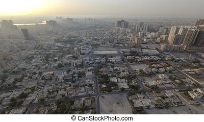Cityscape of Ajman from rooftop morning after sunrise...