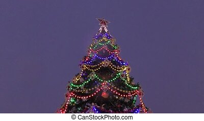The lights on the Christmas tree - Multicolored lights and...