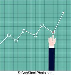 Hand adjusting a graph - Illustration of a hand adjusting a...
