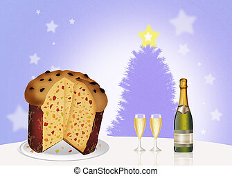 Italian panettone and wine and glasses - illustration of...
