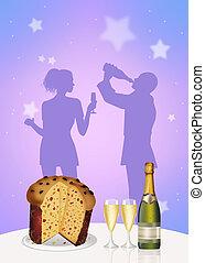 dinner for Christmas - illustration of dinner for Christmas