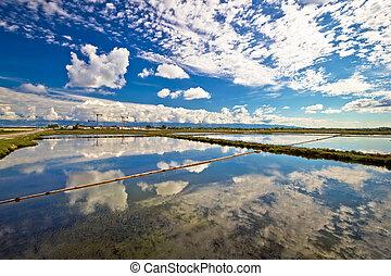 Salt production fields of Nin, Dalmatia, Croatia