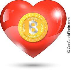 Bitcoin in heart