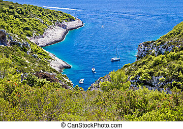 Scenic sailing bay on Vis island, Stinva, Dalmatia, Croatia