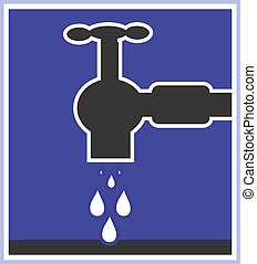 Water tap - Illustration of a symbol of water tap dropping...