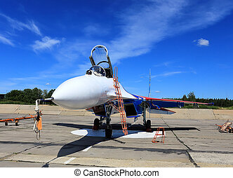 Fighter at the parking place - Russian fighter jet parked at...
