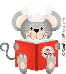 Mouse reading a cookbook