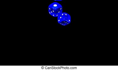 Blue Dice On Black Background