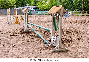equitación, competition., obstáculos, para,...