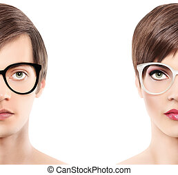 Eyewear glasses half man half woman portrait, wear...