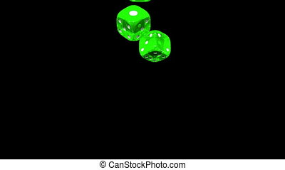 Green Dice On Black Background
