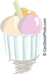 Ice cream scoop in paper cup on white background.