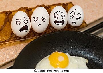cocina, fresco, huevos,