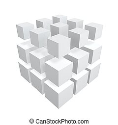 cubes array - abstract cubes array isolated on white...