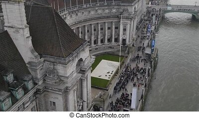 aerial view zoom in on county hall now hotel england uk...