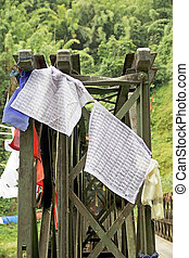 Prayer flags, Sikkim, India - Prayer flags on the bridge...