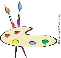 Palette and brush - Illustration of Paintbrush and Palette...
