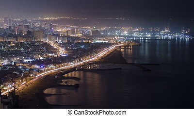 Panoramic view of Sharjah coastline from Ajman rooftop...