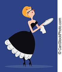 Vintage Woman Washing the Dishes - Vector illustration of a...