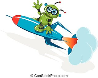Green robot on the rocket - Illustration a Green robot on...