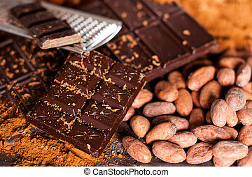 Chocolate products. Chocolate, cocoa beans, cocoa and nuts...