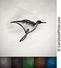 colibri, icon., main, dessiné, vecteur, Illustration,...
