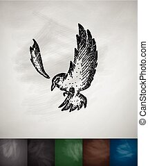 bird icon Hand drawn vector illustration Chalkboard Design