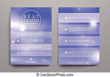 Set of brochure, poster design templates in neon molecule...