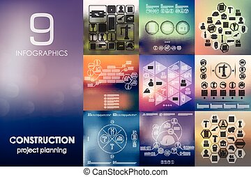 construction infographic with unfocused background -...