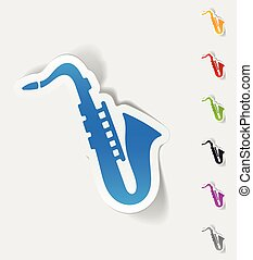 realistic design element saxophone