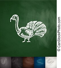turkey icon. Hand drawn vector illustration. Chalkboard...