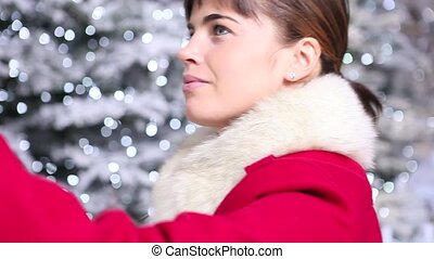 Christmas woman take reindeer toy decoration