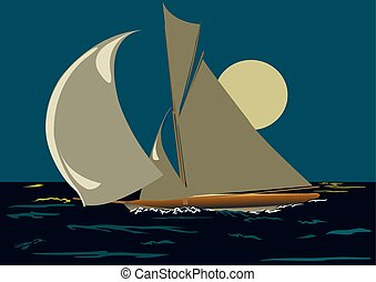 Sailing ship - The ship with sails on a background of a...