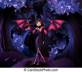 Witch character in front of dark forest