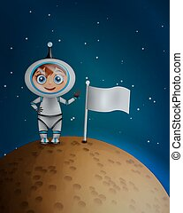 Astronaut in space suit standing on the planet surface with...