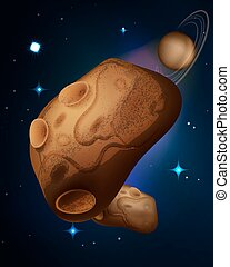 Asteroids drifting in space vector illustration