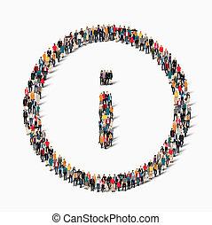 Grupo, pessoas, FORMA, informação, sinal,