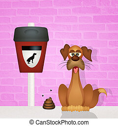 pick up dog poop - illustration of pick up dog poop