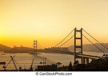 Hong Kong Bridge,It is beautiful Tsing Ma Bridge in Hong...
