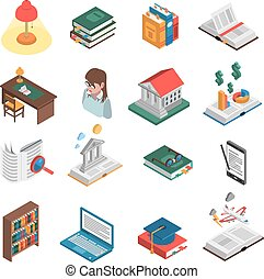 Books Icons Set - Books isometric icons set with library and...