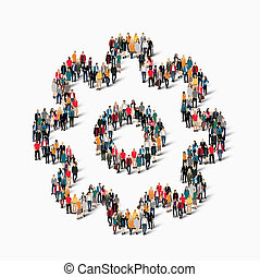 group people shape cog gear - A large group of people in the...