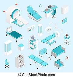 Hospital isometric set - Hospital equipment and furniture...
