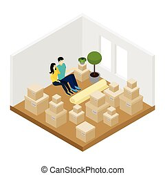 Moving In Illustration - Moving in a new apartment with lots...