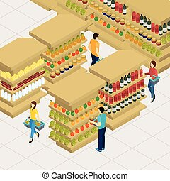 People Shopping Illustration