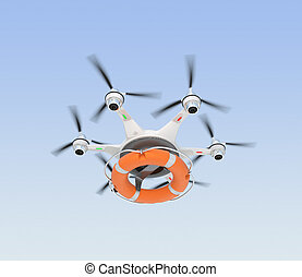 Drone dropping lifebuoy for lifesaving concept